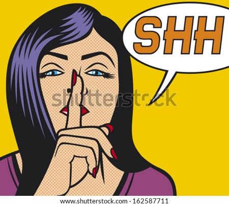 woman with silence sign pop art illustration  - stock vector