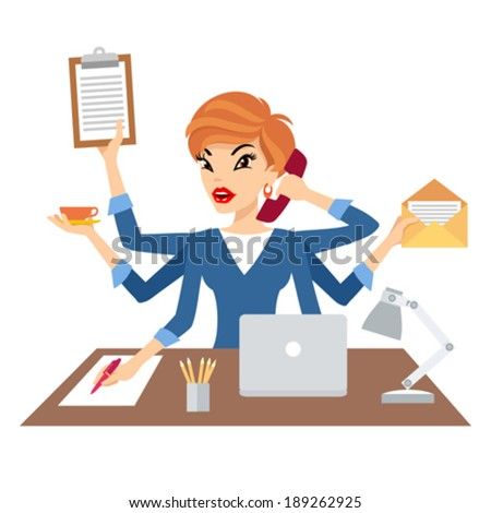 Woman with six arms multitasking her work - stock vector