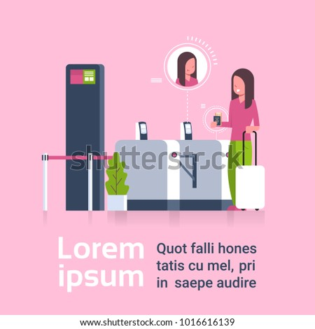 Woman With Suitcase Checking In At Airport Passing Through Security Scanner For Registration Flat Vector Illustration
