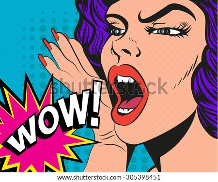 Woman with wow sign. Vector illustration in pop art style. - stock vector