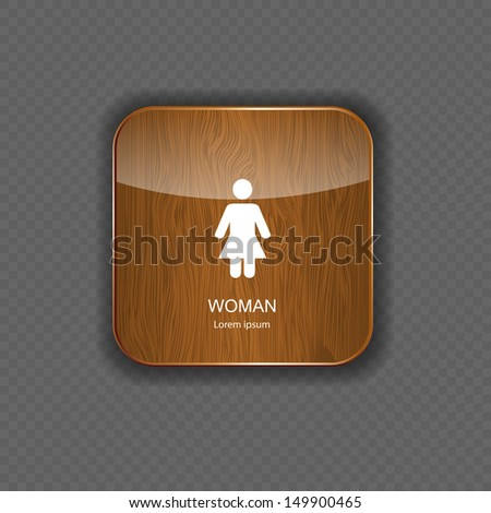 Woman wood  application icons vector illustration - stock vector