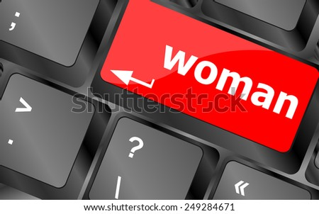 woman word on keyboard key button - stock vector