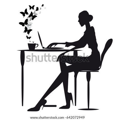 woman,work, silhouette,isolated on a white