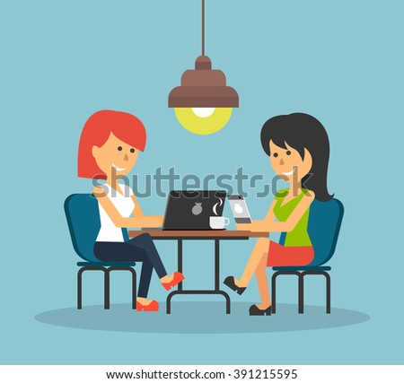 Woman work with laptop and smartphone. Woman and work, business woman, work with smartphone, work with laptop, business phone, work technology mobile, working businesswoman with device illustration - stock vector