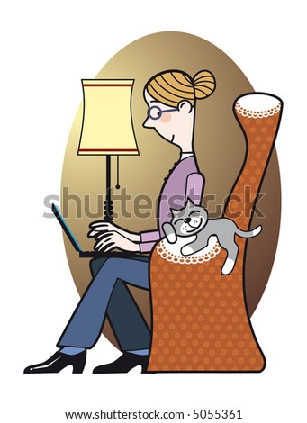 Woman working at home using laptop. Vector EPS.