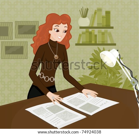 Woman working in office - stock vector
