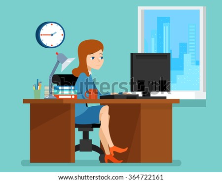 Woman working in office at the desk with computer.  Professional workplace. Business woman on workplace vector illustration in flat style - stock vector