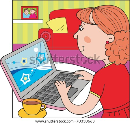 Woman working on a laptop at home. Vector cartoon illustration.
