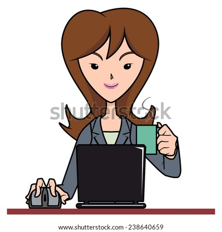 Woman working with computer, holding cup, vector illustration  - stock vector