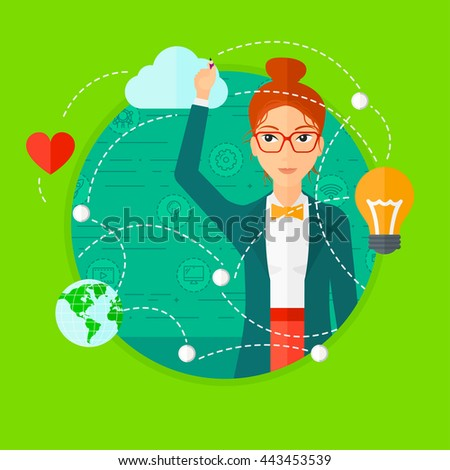 Woman writing on a virtual screen. Business woman drawing a cloud computing diagram on a virtual screen. Cloud computing concept. Vector flat design illustration in the circle isolated on background. - stock vector