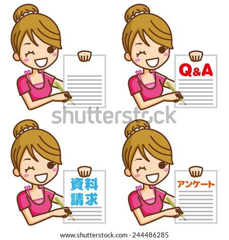 Woman writing on paper - stock vector