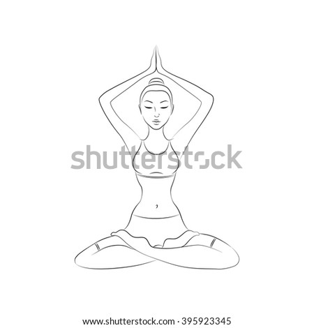 woman, yoga pose, vector illustration