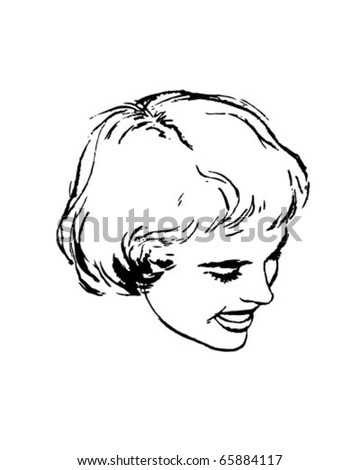Womans Bob Hairstyle - Retro Clipart Illustration - stock vector