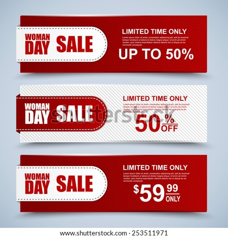 Womans Day collection sale banners - stock vector
