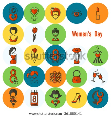 Womans Day Icon Set - stock vector