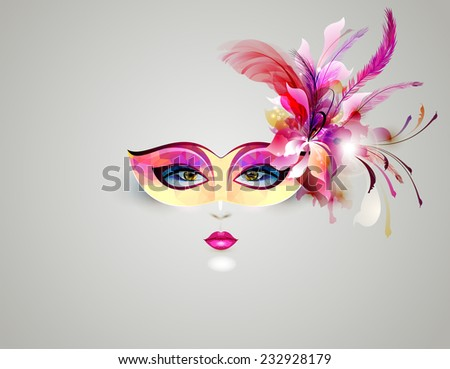womans face in a theatrical mask - stock vector