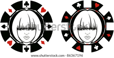 womans face in poker chip - stock vector