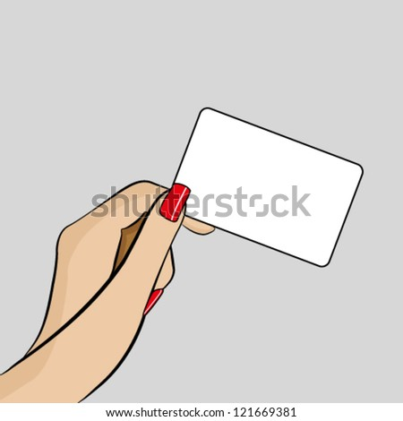 Womans hand holding a business card - stock vector