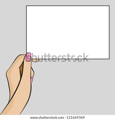 Womans hand holding a piece of paper - stock vector