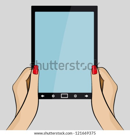 Womans hands holding a 3d generic tablet PC - stock vector