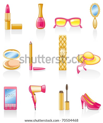 Women accessories isolated on white background. - stock vector