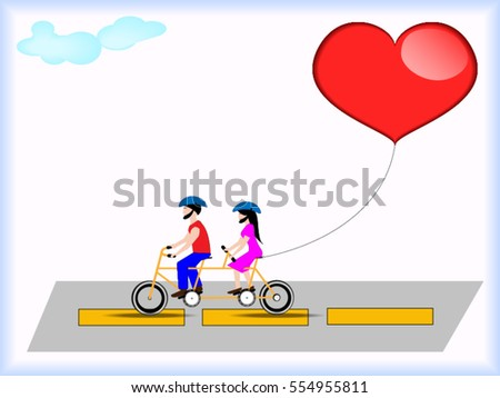 Women and men are driving a bike with love