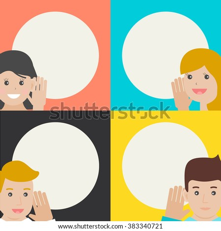 Women and men talking and listening. Speaking and gossip, hearing and chatting, vector illustration  - stock vector
