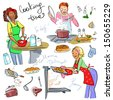 Women at kitchen, cooking, Hand drawn clip art. - stock photo