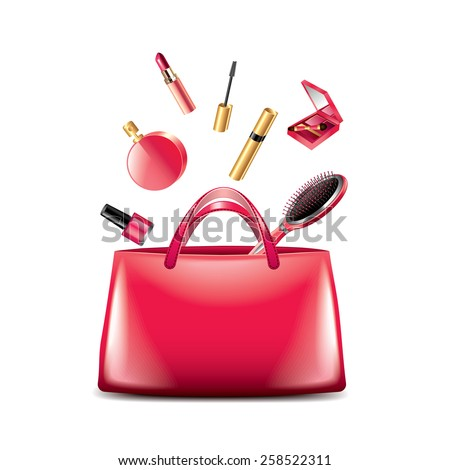 Women bag with cosmetics isolated on white photo-realistic vector illustration - stock vector