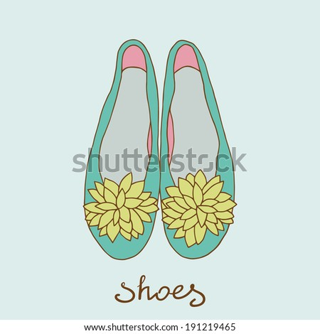 women  ballerina shoes - stock vector
