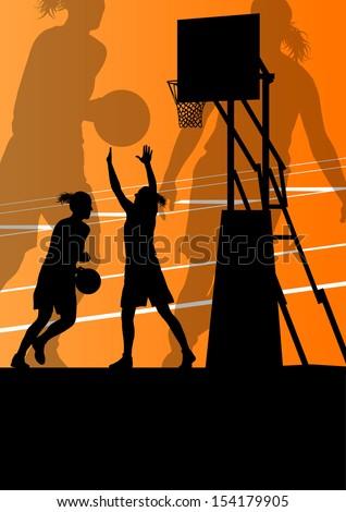 Women basketball player active sport girls vector background illustration - stock vector