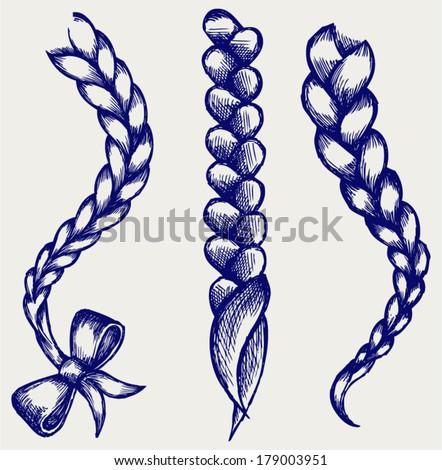 Women braid. Doodle style - stock vector