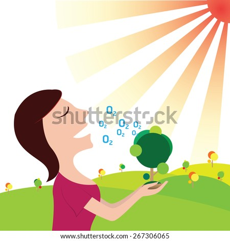 Women breathe oxygen in pure nature. save the Earth - stock vector