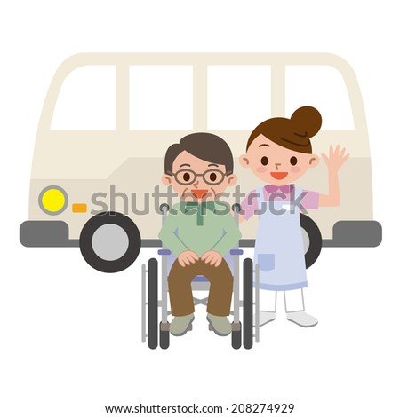 Women caregivers and senior man in a wheelchair - stock vector