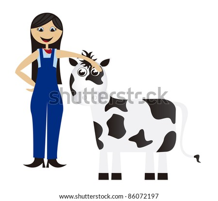 women cartoon farmer with cow isolated background. vector - stock vector