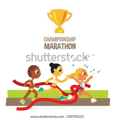women championship marathon runners, winner crossing finish line, cartoon flat style character, vector illustration. - stock vector