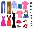 women clothes - stock vector