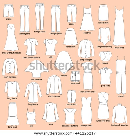 Women Clothes Names Outlined Icons Clothing Stock Vector 441225217 Shutterstock