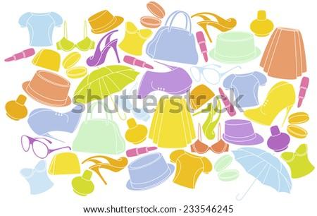 WOMEN CLOTHING AND SHOES BACKGROUND. VECTOR ILLUSTRATION