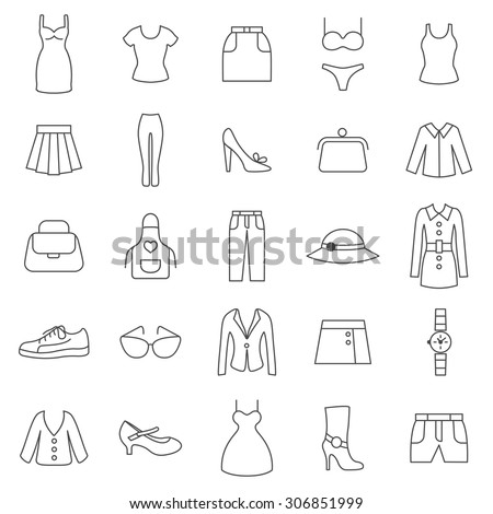 Women Clothing Line Icons.Vector - stock vector
