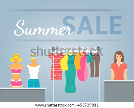Women clothing store vector flat illustration. Casual clothes collection hanging on metal rack and displayed on mannequins in shop interior. Beautiful girl seller stands at counter. Summer sale banner - stock vector