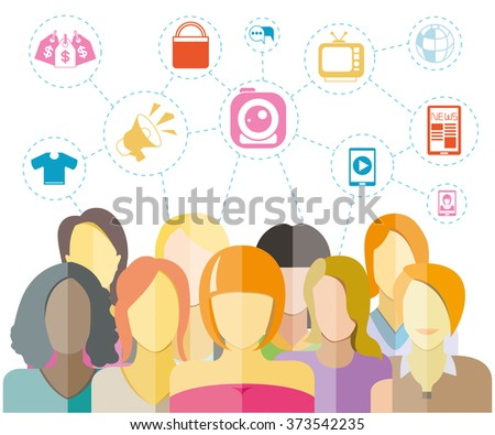 women community with social network concept, teamwork and leadership concept - stock vector