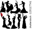 Women dancing flamenco and salsa vector silhouettes set. Layered. Fully editable. - stock vector