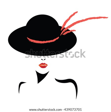 women elegant hat with bow for ladies and red lips - stock vector