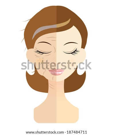 Women face the problem of skin trouble - stock vector