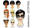Women faces in sunglasses, different fashion styles isolated on white, hand drawn - stock vector