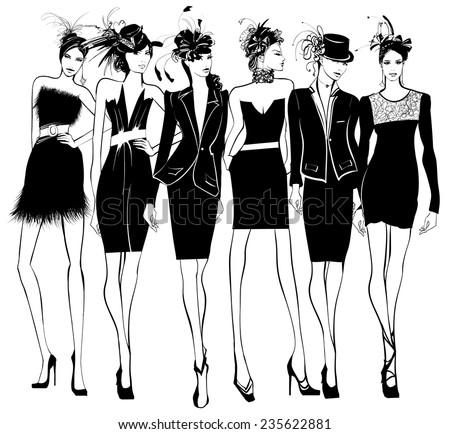 Women fashion models in black dress and feather hat - vector illustration - stock vector