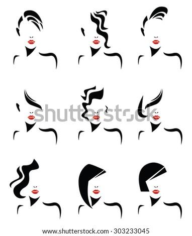 women hair styles - stock vector