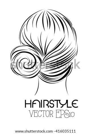 Women hairstyle in black, Vector hand drawn illustration. - stock vector