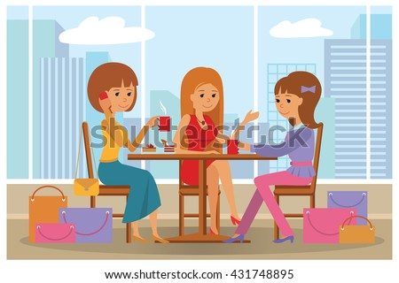 Women in cafe vector Illustration with city landscape on window. Three beautiful friends women with shopping packages talking friendly at coffee shop while drinking coffee. - stock vector